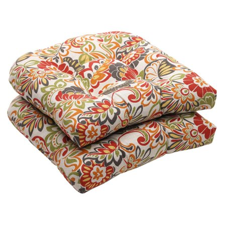 Pillow Perfect Outdoor Floral Wicker Seat Cushions - 19 x 19 x 5 in. - Set of 2 Outdoor Pillows Cushions