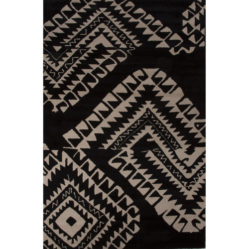 Royal Rugs Aztec Wool Hand Tufted Black/White Area Rug