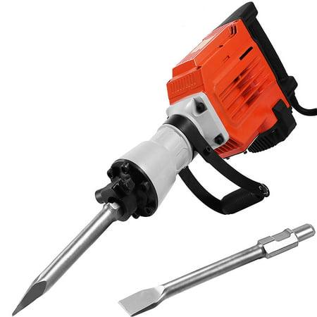 Bosch Flat Chisel - BestEquip 3600W Electric Demolition Hammer Heavy Duty Concrete Breaker 1400 RPM Jack Hammer Demolition Drills with Flat Chisel Bull Point Chisel