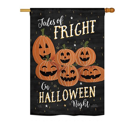 Breeze Decor - Fright on Halloween Night Fall - Seasonal Halloween Impressions Decorative Vertical House Flag 28