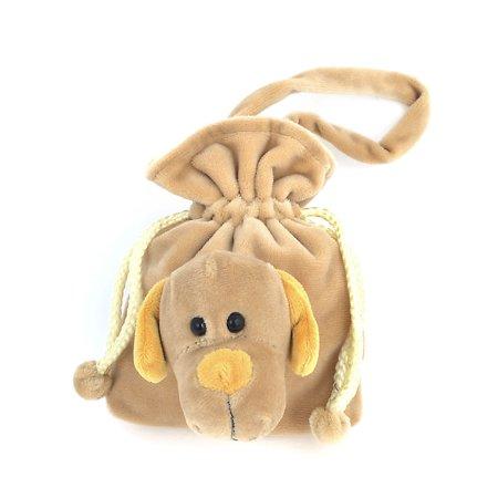Unique Bargains Ladies Portable Dog Detail Khaki Plush Drawstring Handbag Purse