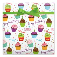 Birthday Cupcakes Jumbo Rolled Gift Wrap - 23 Feet x 35 Inches (67 Square Feet Total), Peek-Proof, For Birthdays, Graduations, Baby Showers and More
