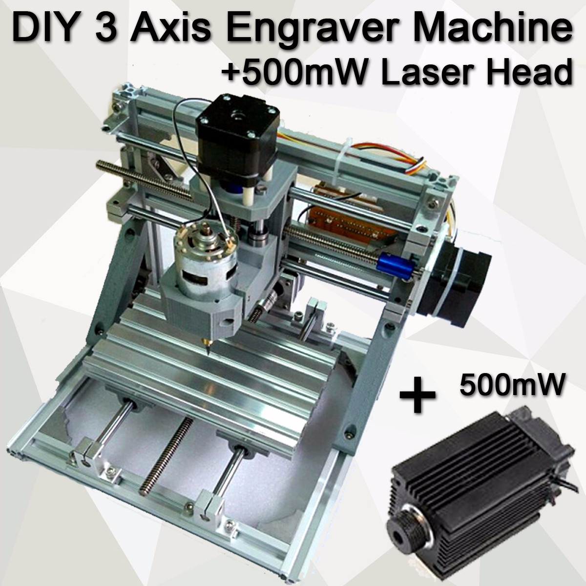 DIY 3 Axis Engraver Machine Milling Wood Carving Engraving With 500mW laser head