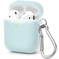 AirPods Case [Front LED Visible], GMYLE Silicone Protective Shockproof Earbuds Case Cover Skin with Keychain Kit Set Compatible for Apple AirPods 1 & 2 (Jelly See-Through Aqua Blue)