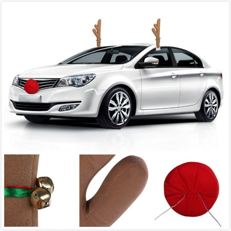 MINI-FACTORY Car Christmas Decoration Reindeer Reindeer Antlers Nose Costume Set Christmas Car Accessory](Reindeer Car Antlers)