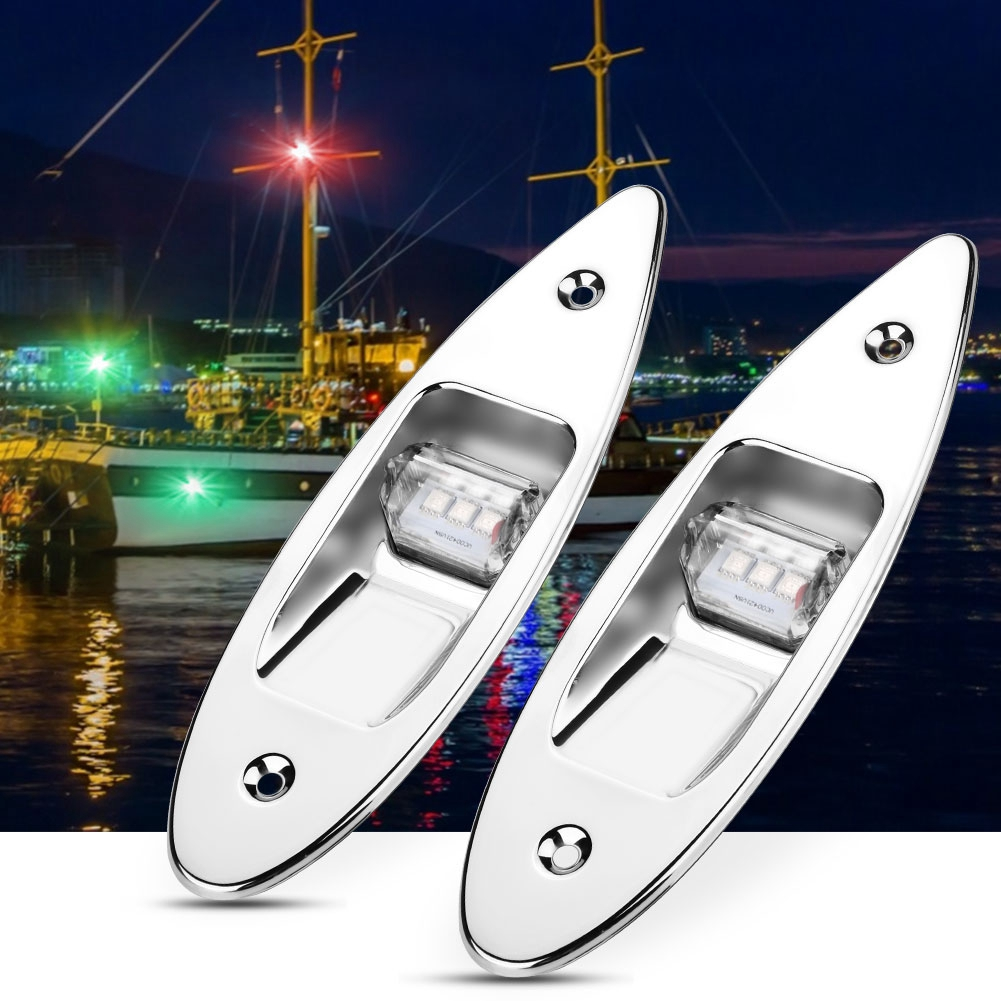 2pcs Marine Boat LED Flush Side Mount Stainless Steel Bow Navigation Lights