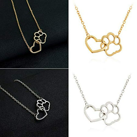 Maya's Grace Paw Print Necklace Dog Cat Animal Lover Fur Baby Heart Lariat Gift (Gold)