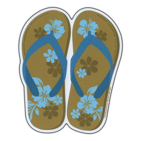 Magnetic Bumper Sticker - Flip Flops (Hawaiian Flowers, Blue) - Magnet - 1.5