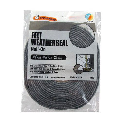 "3/4"" X 25' Nail-On Felt Weatherstrip - 3/16"" Thick"