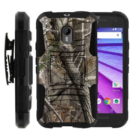 Motorola Moto G 3rd Gen Case | Moto G3 Case [ Clip Armor ] Rugged Impact Defense Case with Built in Kickstand and Belt Clip - Nature's Camouflage ()
