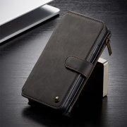 Magnetic Leather Wallet Flip Phone Case For iPhone 11 Pro Full Body Business Back Cover (Black)