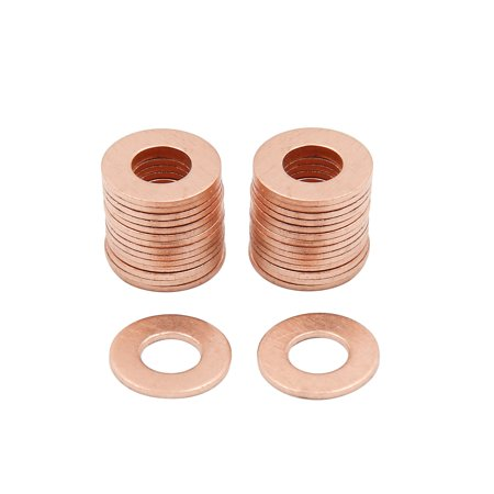 30pcs 7mm Inner Dia Copper Washers Flat Sealing Gaskets Ring for Car - image 3 of 3