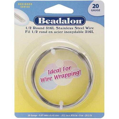 Beadalon S Steel Wire Coil 1/2Rnd 316L 20Ga 9M