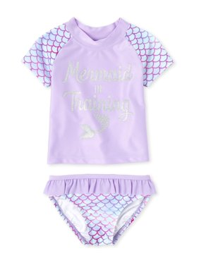 The Children's Place Baby Toddler Girl Mermaid Rash Guard Swimsuit