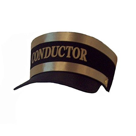 Adult Conductor Hat (New Black Engineer Train Conductor Hat Cap Gold Trim Railroad)