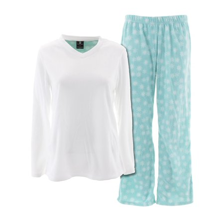 Donna L'oren Womens Blue White Snowflakes Micro Polar Fleece Pajamas S