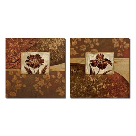 At Waters Edge I Lovely, Vintage Burgundy and Gold Flowers; Floral Decor; Two 12X12 Poster Prints - Burgundy Decor