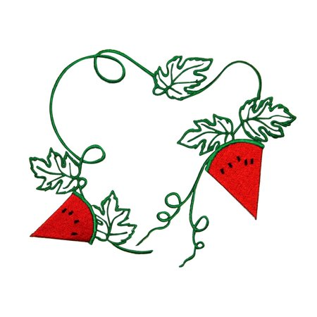 ID 1198Z Watermelon Slices On Vine Patch Summer DIY Embroidered Iron On Applique](Halloween Vine Watermelon)
