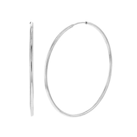 Silver Plated Hook (Silver Plated Comfortable Plain Thin Endless Hoop Earrings 25mm)