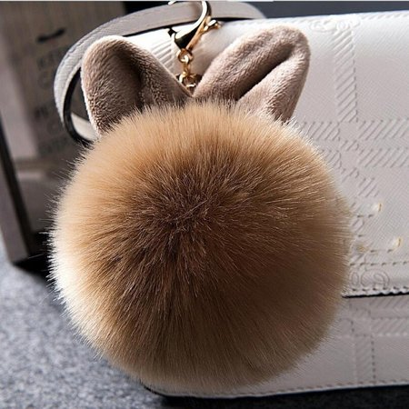Rabbit Fur Pom-pom Key Chain Bag Charm Fluffy Puff Ball Bow Key Ring Car Pendant -