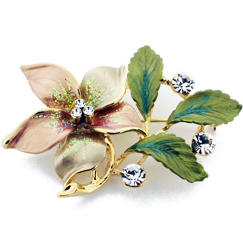 Golden Topaz Flower Swarovski Crystal Pin Brooch by