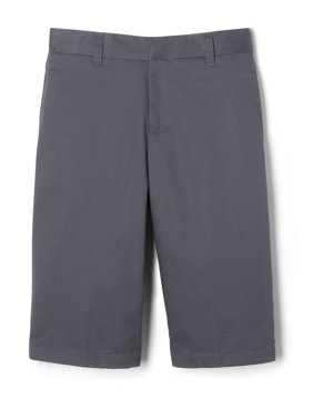 French Toast Boys School Uniform Adjustable Waist Twill Flat Front Shorts, Sizes 4-20 & Husky