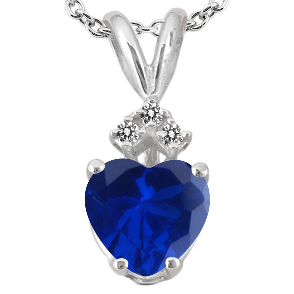 1.11 Ct Heart Shape Blue Simulated Sapphire White Diamond 14K White Gold Pendant