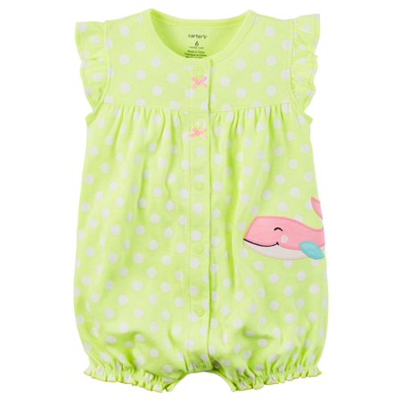 (Carters Baby Clothing Outfit Girls Snap-Up Neon Romper Whale Dot Green)