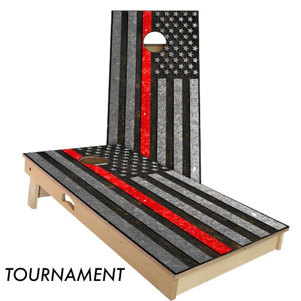 Firefighter Thin Red Line Cornhole Boards by