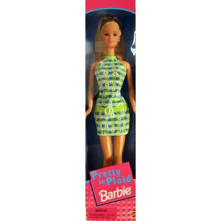 Barbie Pretty in Plaid (Blonde) Amazon.com from Mattel's daisy-print green-and-blue-plaid knit dress. She sports a green plastic belt with pearlized buckle slung low over her hips and her long blonde hair is in a hip-looking ponytail on top of her head. Matching green shoes, earrings, and a removable ring complete her smart ensemble. (Brush is not included.) --Heidi Robinson Liquidation Clearance - No Returns No Refunds No ExchangesSKU:ADIB00000ISVI