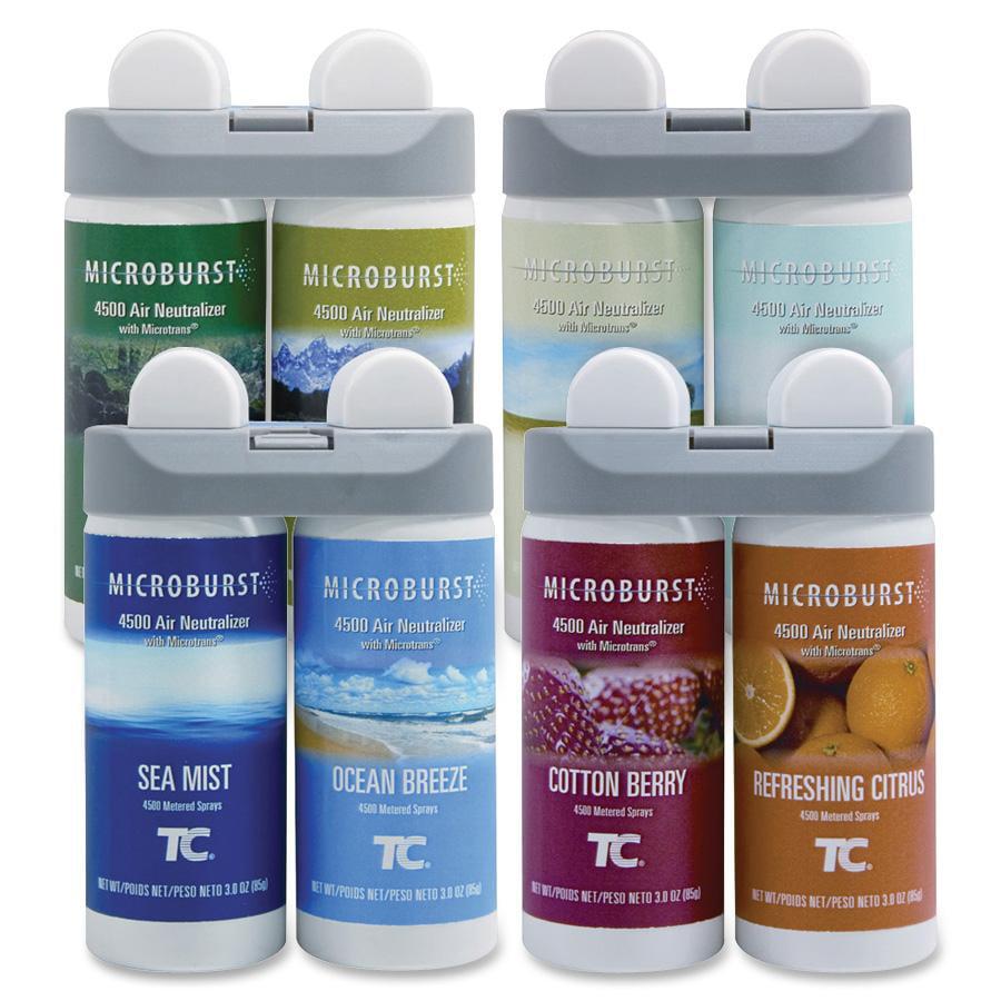 Rubbermaid Commercial, RCP3486092, Microburst Duet Fragrance Refills, 4 / Carton, White