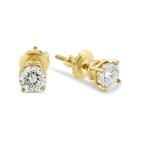 1/2ct Diamond Stud Earrings Solid 14K Yellow Gold Screw Back