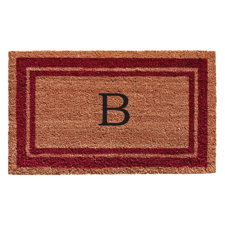 Burgundy Border Monogram Doormat (Letter B)
