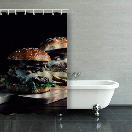 BPBOP Burger With Mushrooms Arugula Tabasco Sauce Gruyere Cheese Brioche Bun Shower Curtain Bathroom Curtain 36x72 inches