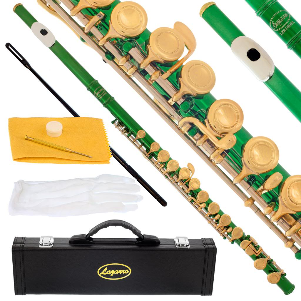 Lazarro 180-GR Professional Green-Gold Closed Hole C Flute with Case, Care Kit-Great for Band, Orchestra,Schools