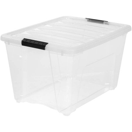 IRIS USA, 54-Quart Stack and Pull Plastic Storage Box, Clear