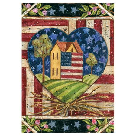 Toland Home Garden American Folk Heart (American Flag Heart)