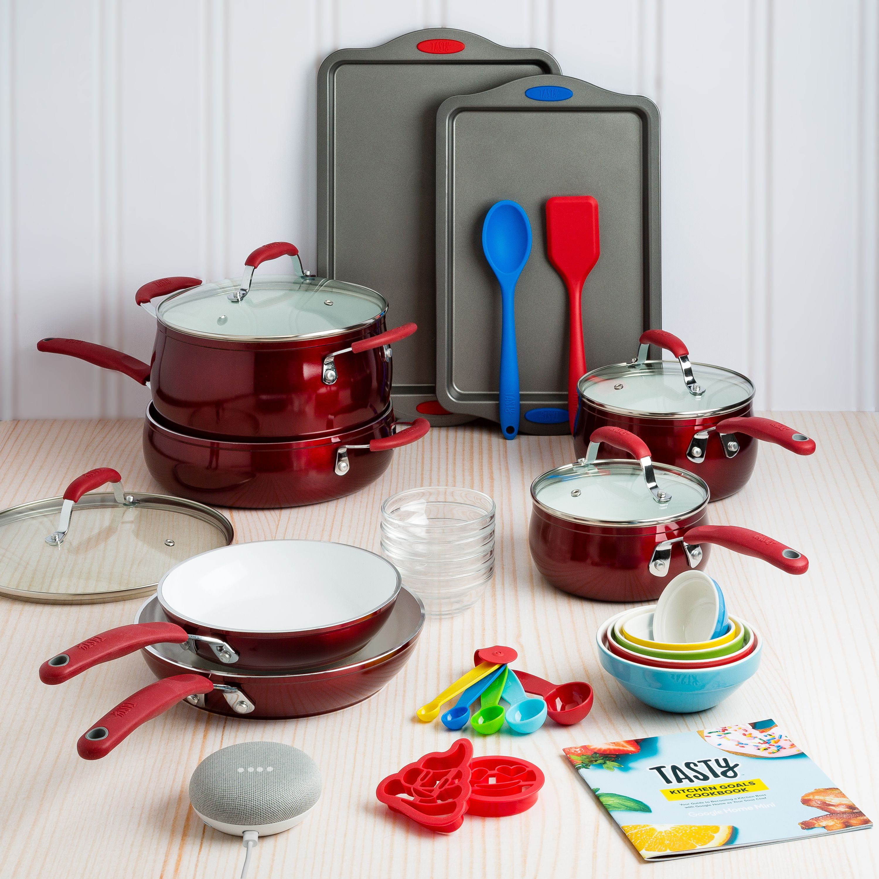 Tasty Ceramic Heavyweight Non-Stick Red Cookware Set, 30 Piece