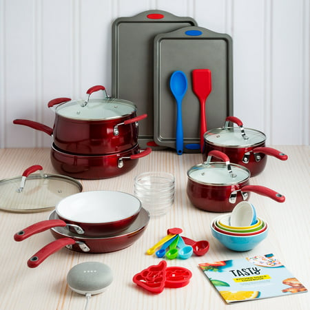 Tasty 30 Piece Heavyweight Non-Stick Ceramic Cookware Set - Includes Google Home Mini - Red