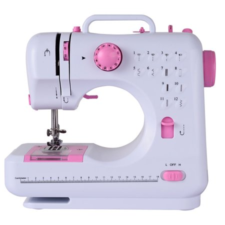Costway Sewing Machine Free-Arm Crafting Mending Machine with 12 Built-In Stitched