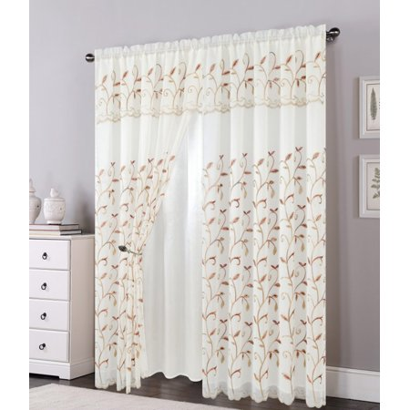 Lucia Embroidered Panel with Attached Valance & Backing, Beige, 54x84+18 - Lucia Marble