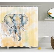 Elephants Decor Shower Curtain Set Elephant Watercolor Style Illustration Wild Creature Safari Exotic Wildlife Home