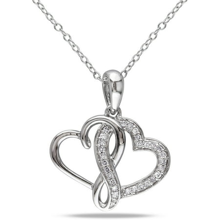 1/6 Carat T.W. Diamond Sterling Silver Double Heart Pendant, 18