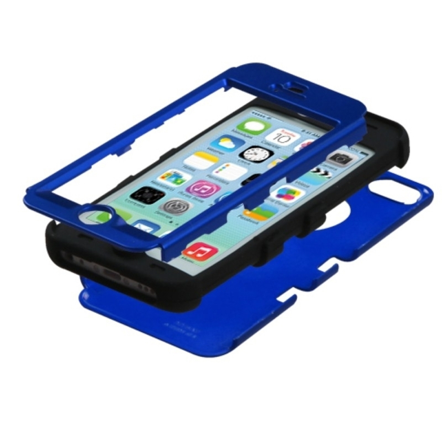 Insten Tuff Hard Dual Layer Rubber Silicone Cover Case For Apple iPhone 5C - Dark Blue/Black