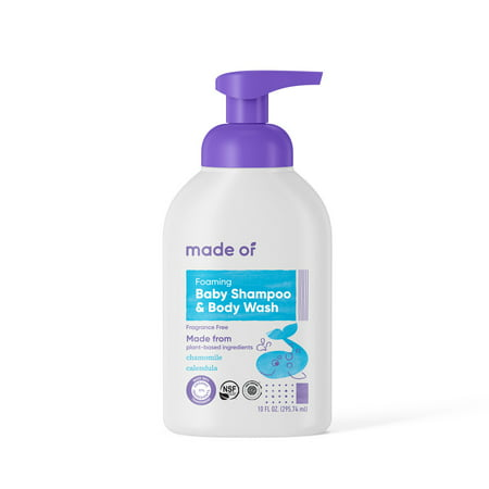 MADE OF Foaming Organic Baby Shampoo and Body Wash - NSF Organic Certified - EWG Verified - Gluten Free - Vegan - For Sensitive Skin and Eczema - 10 oz (1 Pack - Fragrance Free)