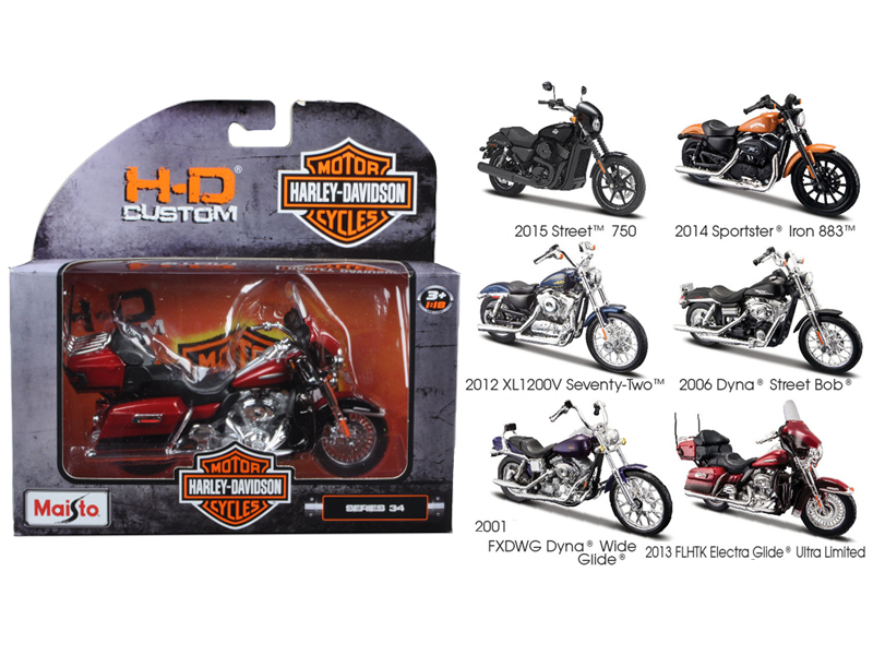 Harley Davidson Motorcycle 6pc Set Series 34 1 18 Diecast Models by Maisto by Maisto