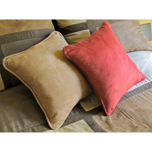 Blazing Needles Premium Set of 2 Micro Suede 18 in. Pillows Package with Cording