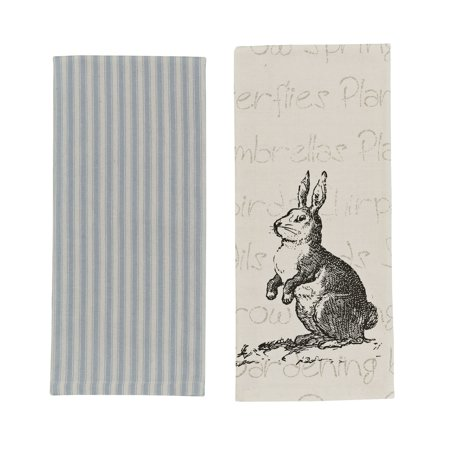 Rabbit Covered Dish - Bunny Rabbit Blue and Striped Kitchen Dish Towels Set of 2 Cotton 28 Inches
