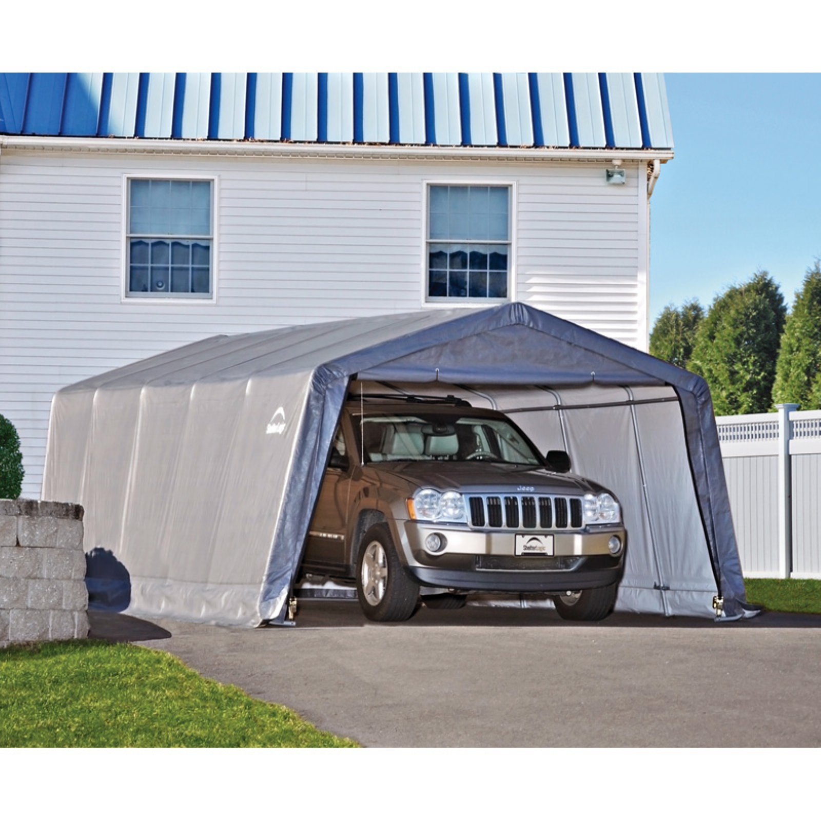 Shelterlogic Garage-in-a-Box 12' x 20' x 8' Peak Style Instant Garage, Gray