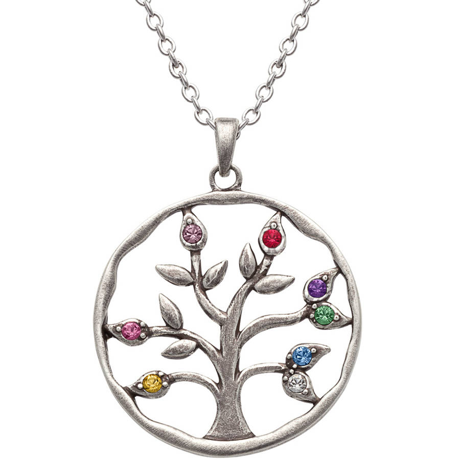 Personalized Mother's Silver-Plated Birthstone Round Tree Pendant